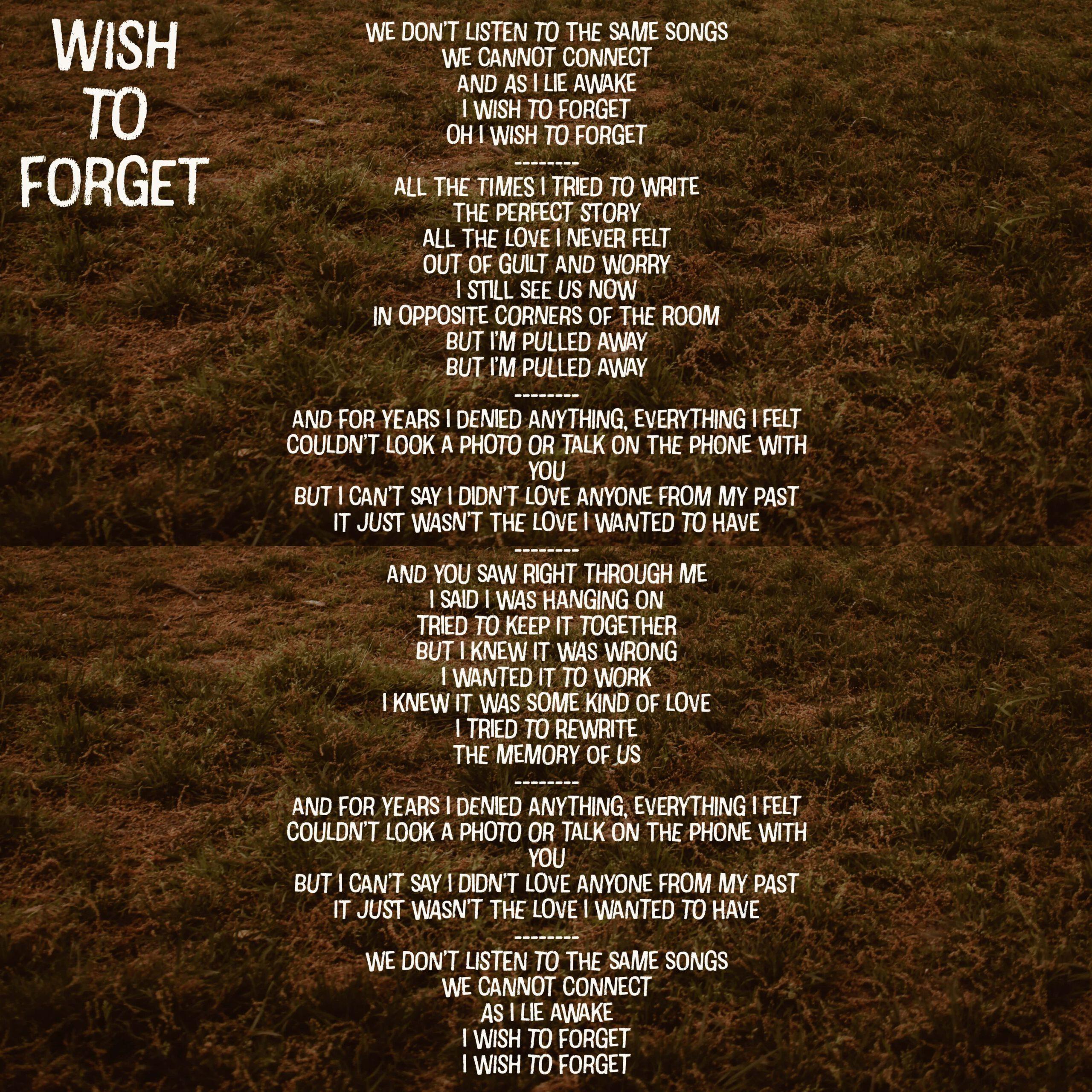 wish to forget lyrics